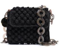 Metallic Crochet-knit Shoulder Bag Black Size --