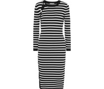 Arzel Button-detailed Striped Stretch-knit Dress Black