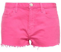 Frayed Denim Shorts Bright Pink  8