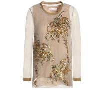 Embellished Cotton-blend Tulle Top Sand