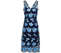 Floral-appliquéd Tulle Dress Blue