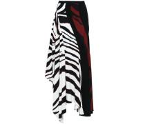 Asymmetric Printed Crepe Skirt Black