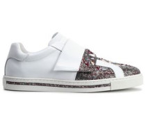 Woman Embellished Satin-paneled Leather Sneakers White