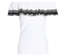 Strapless Ruffled Stretch-knit Top White