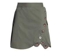 Button-detailed Cotton Mini Skirt Army Green