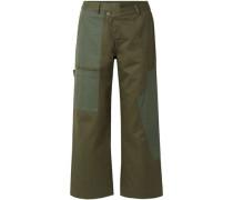 Woman Cotton-drill Wide-leg Pants Army Green