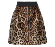 Crystal-embellished Leopard-print Silk And Wool-blend Mini Skirt Brown