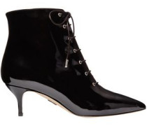Lace-up Patent-leather Ankle Boots Black