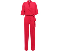 Woman Zhou Tie-front Wrap-effect Stretch-jersey Jumpsuit Crimson