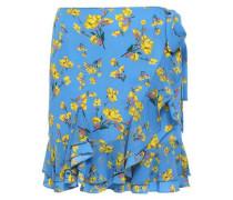 Wrap-effect Floral-print Crepe De Chine Mini Skirt Light Blue