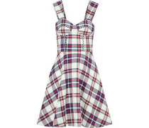 Flared checked twill dress