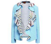 Ruffled Stretch-knit Jacket Light Blue