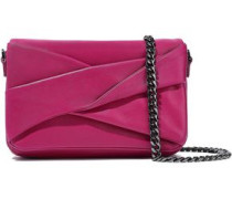 Grace Small Pleated Leather Shoulder Bag Magenta Size --