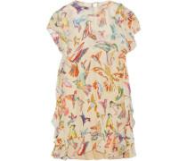 Woman Layered Printed Silk-georgette Mini Dress Beige