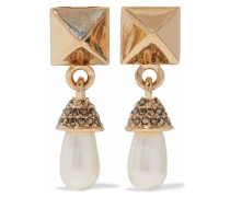 Rockstud gold-tone, faux pearl and crystal clip earrings