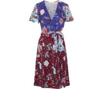 Floral-print Silk Crepe De Chine Wrap Dress Royal Blue