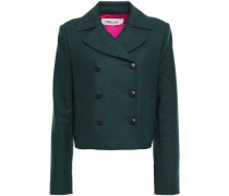 Double-breasted Wool-blend Twill Jacket Dark Green