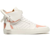 Embellished two-tone leather high-top sneakers