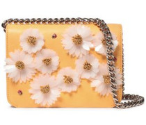 Floral-appliquéd leather shoulder bag