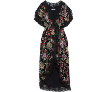 Adele Floral-print Fil Coupé Chiffon Midi Wrap Dress Black Size 0