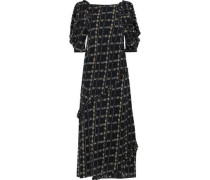 Cold-shoulder Floral-print Silk Crepe De Chine Midi Dress Black
