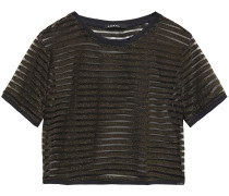 Woman Terrain Disconnect Cropped Metallic Striped Knitted Top Gold