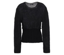 Open-knit Mohair-blend And Ribbed-knit Sweater Black