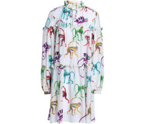 Ruffle-trimmed printed silk dress