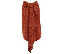 Woman Draped Checked Wool-blend Skirt Orange