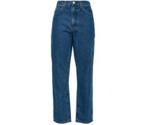 Cropped High-rise Straight-leg Jeans Mid Denim  8