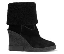 Woman Shearling-paneled Suede Wedge Ankle Boots Black
