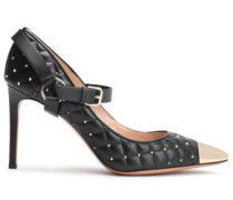 Woman Studded Quilted Leather Mary Jane Pumps Black