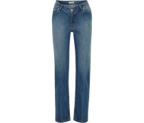 Faded Mid-rise Straight-leg Jeans Mid Denim