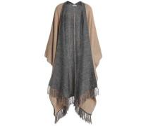 Fringe-trimmed metallic knitted cape