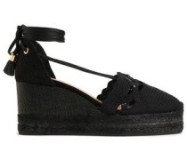 Tasseled Crochet-knit And Canvas Wedge Espadrilles Black