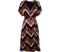 Woman Lexa Wrap-effect Striped Burnout Satin Dress Multicolor