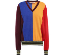 Color-block Intarsia Cashmere And Wool-blend Sweater Marigold