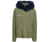 Shearling-trimmed Cotton Parka Army Green