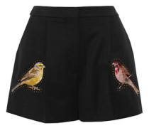 Embellished embroidered wool-canvas shorts