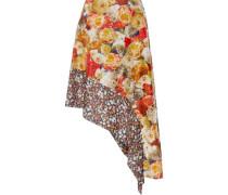 Pamsan asymmetric floral-print silk-satin skirt