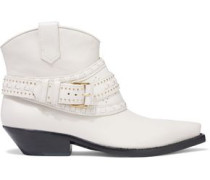 Embellished Perforated Ankle Boots Off-white
