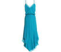 Wrap-effect ruched silk-crepe de chine dress