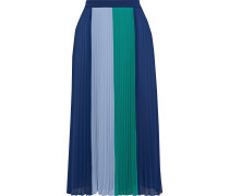 Woman Clementine Pleated Color-block Crepe De Chine Midi Skirt Navy