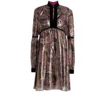 Velvet-trimmed iridescent silk-blend mini dress