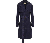 Belted Suede Trench Coat Navy
