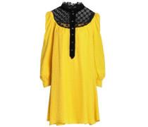 Lace-paneled jacquard mini dress