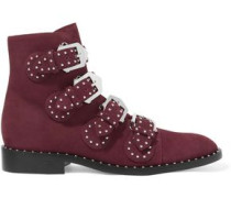 Buckled Studded Suede Ankle Boots Burgundy