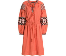 Mobi Embroidered Cotton-gauze Dress Coral