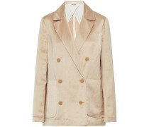 Double-breasted linen-blend satin jacket