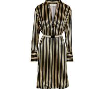 Belted striped satin dress